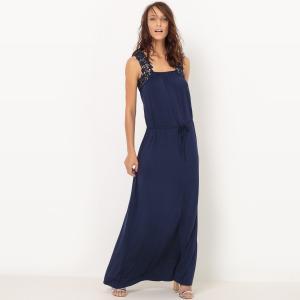 Платье длинное из трикотажа с отделкой крючком La Redoute Collections. Цвет: синий