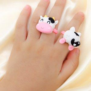 2шт Кольцо с мультипликационным декором для девочек SHEIN. Цвет: многоцветный