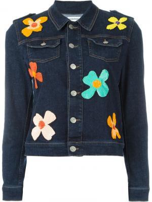 Джинсовая куртка с цветами из пайеток Au Jour Le. Цвет: синий