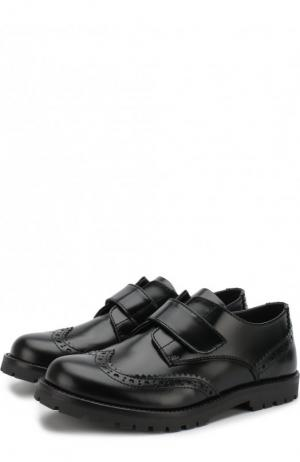Кожаные дерби с брогированием и застежками велькро Dolce & Gabbana. Цвет: чёрный