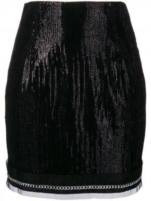 Мини-юбка с пайетками Plein Sud. Цвет: черный