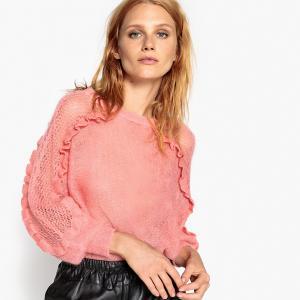 Пуловер из мохера с воланами на рукавах LA REDOUTE COLLECTIONS. Цвет: слоновая кость