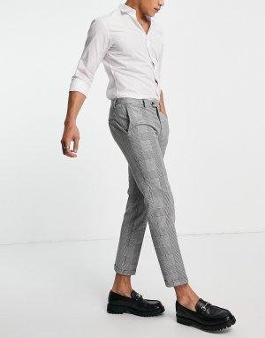 Свободные костюмные брюки в классическую клетку Premium-Черный цвет Jack & Jones