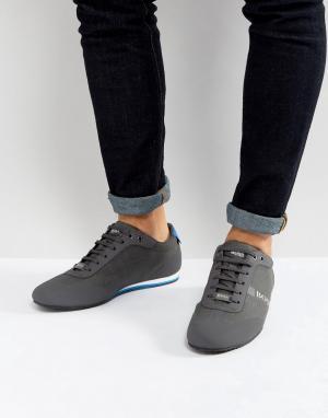 Серые джинсовые кроссовки с покрытием by Hugo Boss Green. Цвет: серый