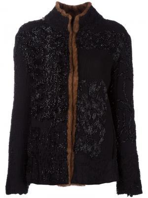Куртка с меховой отделкой By Walid. Цвет: чёрный