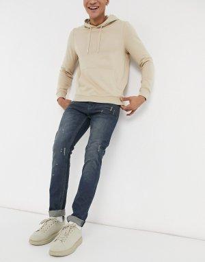 Выбеленные джинсы с эффектом потертости -Серый Bellfield