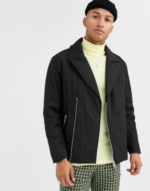 Утепленная байкерская куртка черного цвета -Черный ASOS DESIGN