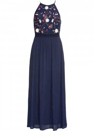 Платье макси с вышивкой bonprix. Цвет: синий
