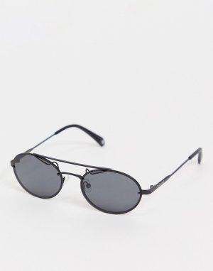 Солнцезащитные очки в стиле унисекс с маленькими стеклами -Черный цвет Polaroid