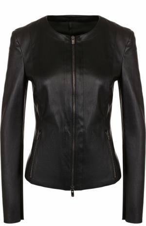Приталенная кожаная куртка с круглым вырезом DROMe. Цвет: черный