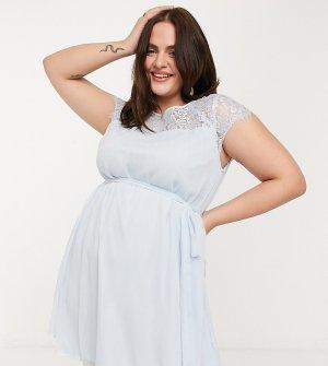 Синее платье с кружевными вставками -Синий Junarose