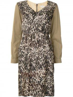 Платье с леопардовым принтом Dries Van Noten Pre-Owned. Цвет: коричневый