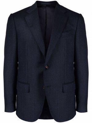 Шерстяной однобортный пиджак Caruso. Цвет: синий