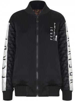 Двусторонняя куртка-бомбер с логотипом Fendi. Цвет: черный