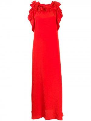 Вечернее платье с оборками P.A.R.O.S.H.. Цвет: красный