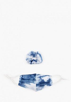 Маска для лица защитная Sela и резинка волос. Цвет: синий