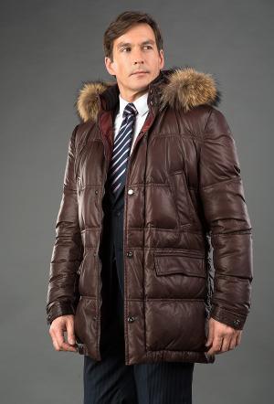 Кожаный мужской пуховик Fontanelli () коричневого цвета AFG. Цвет: коричневый