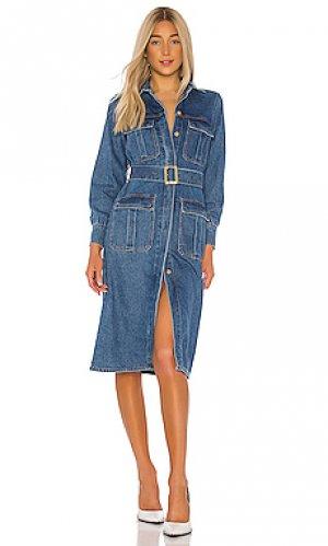 Платье-рубашка denim Bardot. Цвет: none