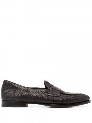 Woven leather penny loafers Tagliatore. Цвет: коричневый