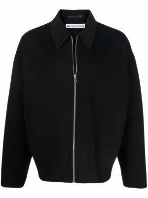 Шерстяная куртка на молнии Acne Studios. Цвет: черный