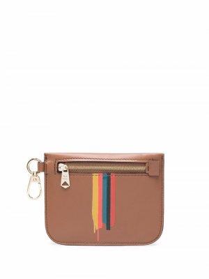 Painted-stripe leather cardholder PAUL SMITH. Цвет: коричневый
