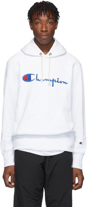 White Big Script Hoodie Champion Reverse Weave. Цвет: 100 white