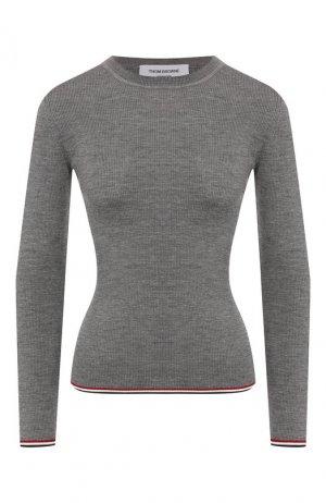 Шерстяной пуловер Thom Browne. Цвет: серый