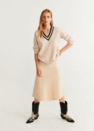 Пуловер с контрастной горловиной - Leage Mango. Цвет: песочный