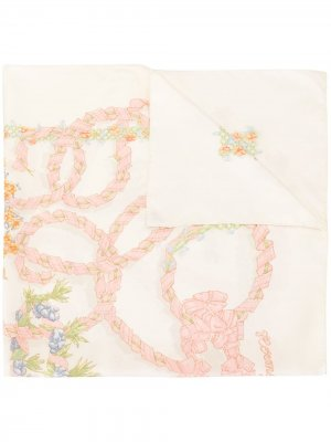 Платок pre-owned с цветочным принтом Hermès. Цвет: белый