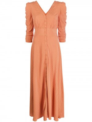 Платье-рубашка в горох byTiMo. Цвет: коричневый