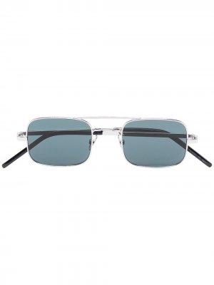 Солнцезащитные очки в квадратной оправе Saint Laurent Eyewear. Цвет: серебристый