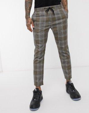 Облегающие строгие брюки в классическую клетку коричневого цвета -Коричневый Topman