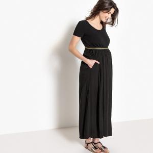 Юбка длинная для периода беременности, резинка с оригинальной отделкой LA REDOUTE MATERNITE. Цвет: черный