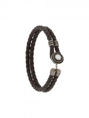 Плетеный браслет Ermenegildo Zegna. Цвет: коричневый