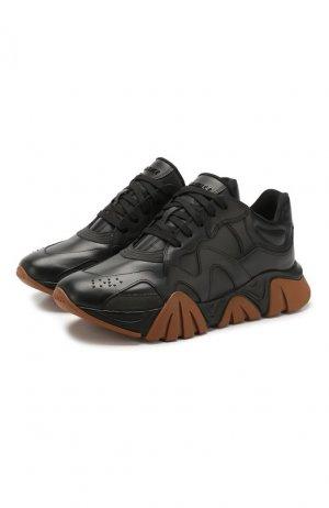 Кожаные кроссовки Squalo Versace. Цвет: чёрный