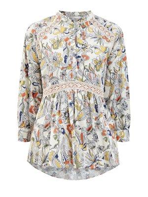 Блуза из дышащего хлопка с ажурным декором и принтом ERMANNO SCERVINO. Цвет: бежевый