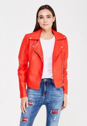 Куртка кожаная Noisy May. Цвет: красный