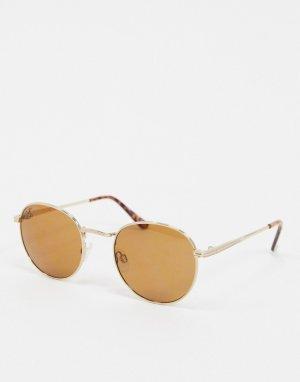 Круглые солнцезащитные очки в золотистой оправе -Золотистый Jeepers Peepers