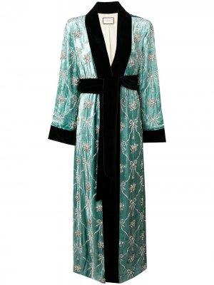 Длинная декорированная накидка Gucci. Цвет: зеленый