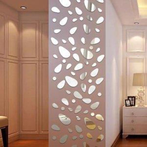 12шт Наклейка на стену с зеркальной поверхностью в форме булыжники SHEIN. Цвет: серебряные