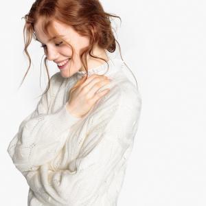 Пуловер с круглым вырезом из тонкого трикотажа LA REDOUTE COLLECTIONS. Цвет: сиреневый
