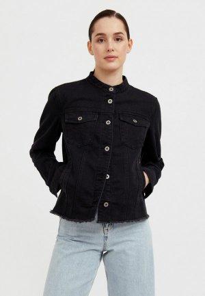 Куртка джинсовая Finn Flare. Цвет: черный