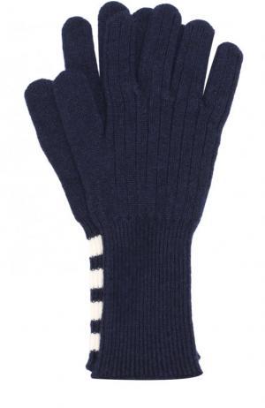 Кашемировые вязаные перчатки Thom Browne. Цвет: темно-синий