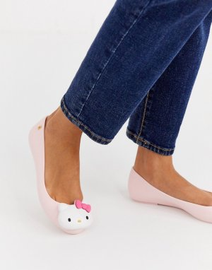 Розовые балетки с логотипом -Розовый Hello Kitty
