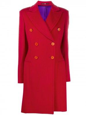 Двубортное пальто длины миди 2000-х годов Gianfranco Ferré Pre-Owned. Цвет: красный
