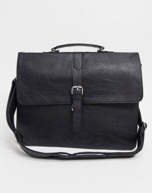 Черный портфель из искусственной кожи ASOS DESIGN