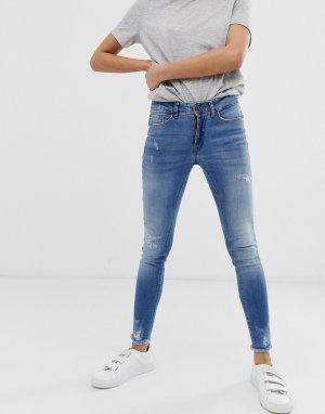 Зауженные джинсы с потертостями -Синий Ichi