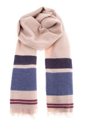 Мужской шарф из мягкого кашемирового твила с полосатым узором BRUNELLO CUCINELLI. Цвет: бежевый