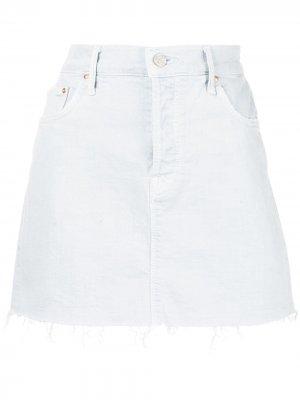 Джинсовая юбка с необработанным подолом Mother. Цвет: синий