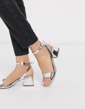Босоножки на блочном каблуке ASOS DESIGN-Серебристый